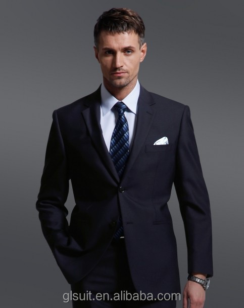 Super 130's 100% Wool black two buttons tailored made notch lapel mens fashion suit
