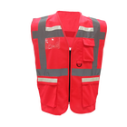 100% POLYESTER SOLID FLUORESCENT HIGH VISIBILITY RED COLOR CONSTRUCTION SAFETY VEST NIGHT LIGHT SAFETY VEST WITH POCKETS