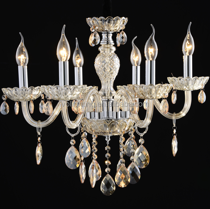 Hotsell vitage contryside crystal chandelier Pendant Light with six candlesticks design