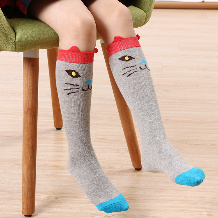 a2b0d11e4eb Hot Cute Kids Fox Socks Totoro Bear Pancake Cartoon Girls Knee High Socks  baby Long Socks