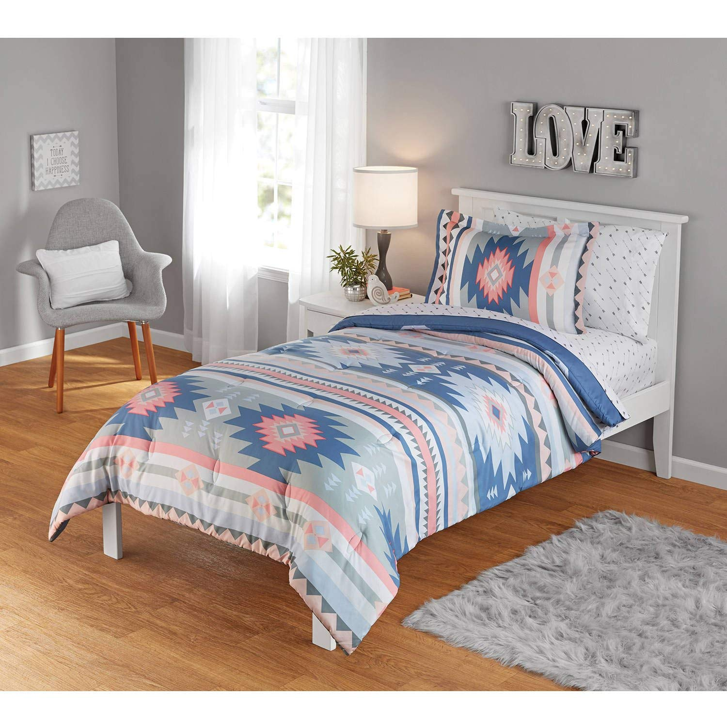N2 3 Piece Ivory Blue Coral Pink Aztec Comforter Full Queen Set, Bohemian Bedding Indie Southwest Tribal Native American Pattern Motifs Grey Stripes Indian Western Gray, Polyester