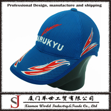 Good quality cheap full mesh breathable foam dome flames outdoor racing running promotional baseball cap sports cap trucker cap