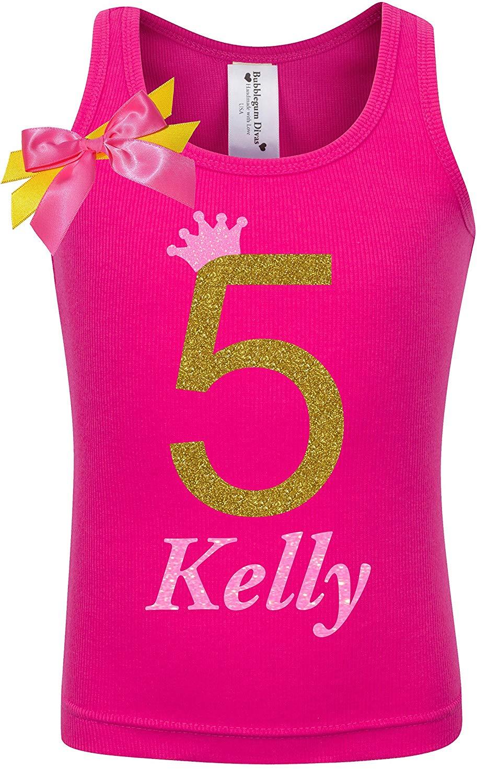 Get Quotations 5th Birthday Shirt Gold Five T Girls Princess Tank Top Custom Name Age 5