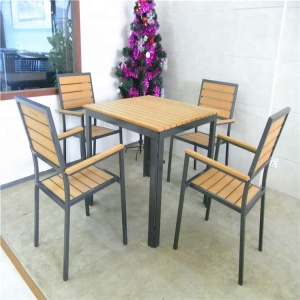 Custom garden PE plastic wooden chair and table outdoor furniture set
