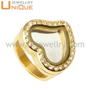 Modern design heart Rings floating charms for Glass Memory Floating Lockets for Women