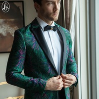Order popular single button shawl collar jacquard green blazers for men