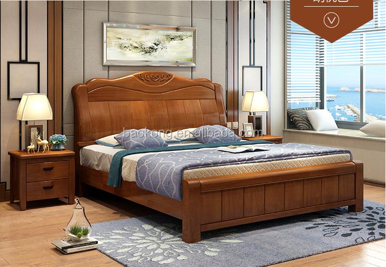 Respaldo Alto Diseño Cama Muebles De Dormitorio De Madera Sólida ...