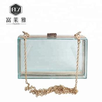 Transpa Clear Acrylic Clutch Bag With Metal Chain