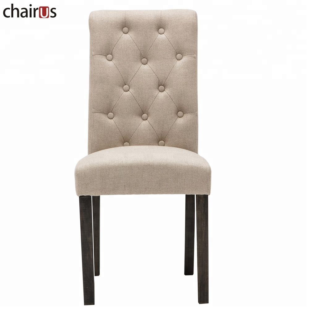 Solid Wood Furniture Classical Wooden High Back Table French Wholesale Tufted Back Dining Chair