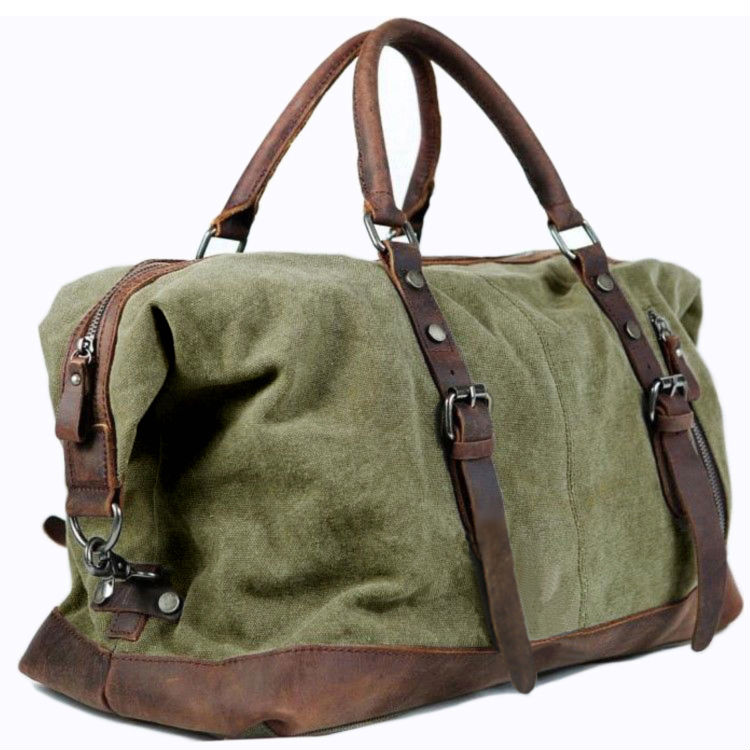 Vintage Military Leather Canvas Men Travel Bags Weekend