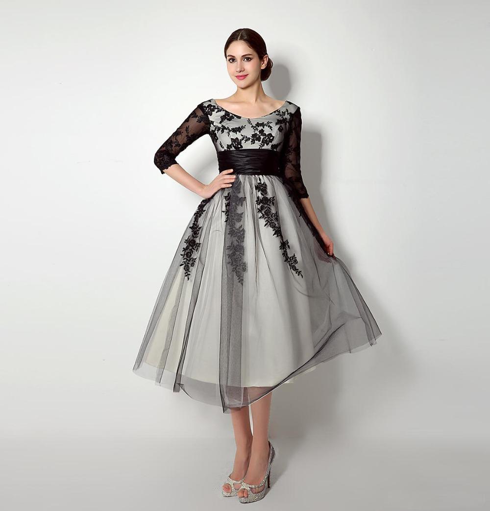 Elegant Lace Sleeve Short Wedding Dresses 2016 Scoop Neck: 2016 Elegant Mother Of The Bride Dresses Scoop Half Sleeve