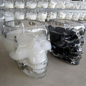 paraffin wax scented glass jar skull candle with different color