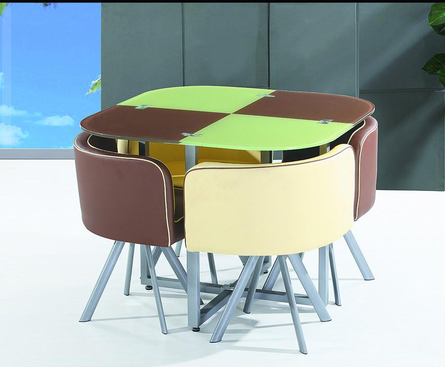 Barato y ahorro de espacio y vidrio templado conjunto mesa de ...