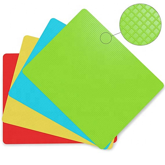 Non Slip Fleksibel Plastik 4 Pieces Lipat Warna Chopping Cutting Board