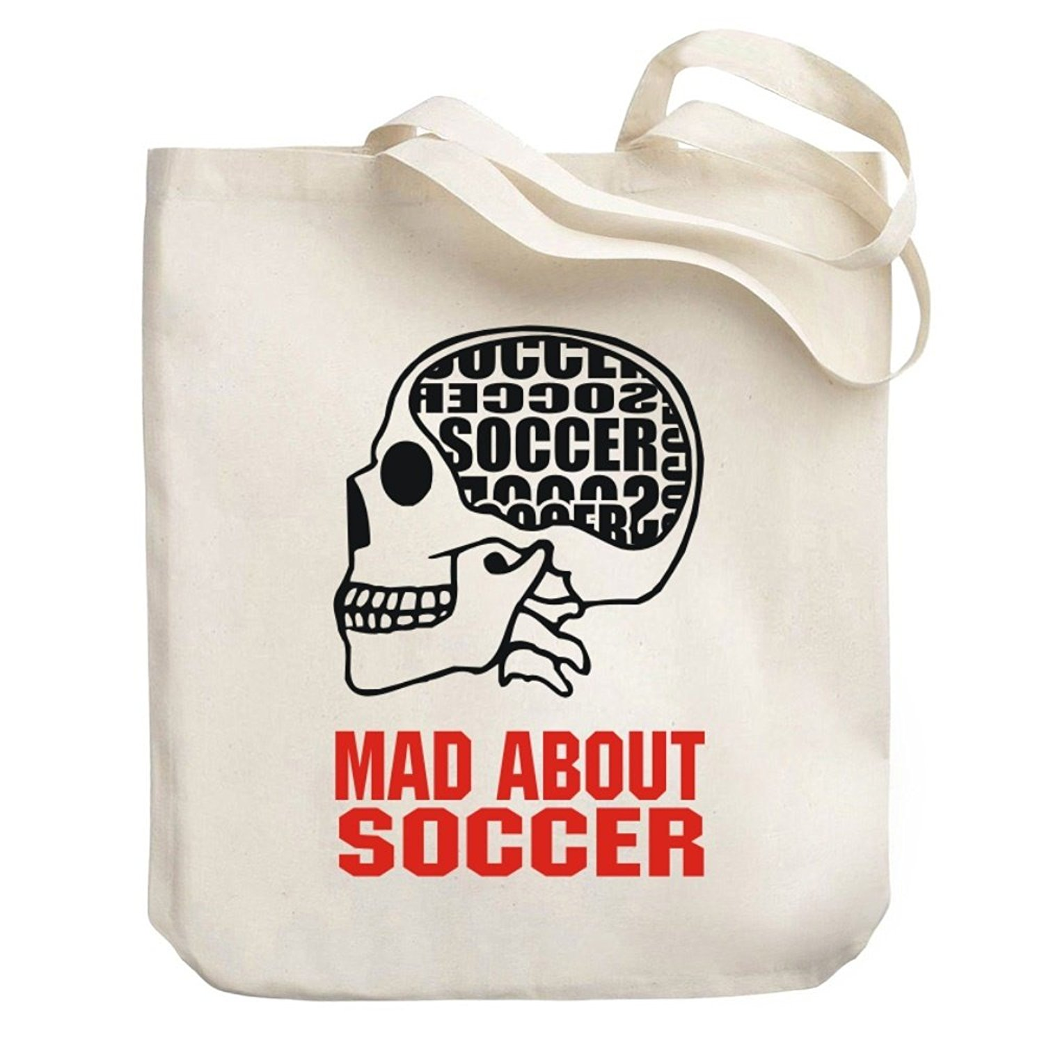 Teeburon MAD ABOUT Soccer SKULL Canvas Tote Bag