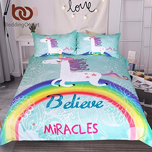 Ln 3 Piece Girls Kids Teal Blue Rainbow Unicorn Duvet Cover Twin Set, Magical Pony Bedding Pink White Purple Vibrant Girly Floral Designs, Woven Microfiber Fabric