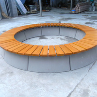 Top sale cheap patio round outdoor bench HDPE recycling plastic wood round wooden bench