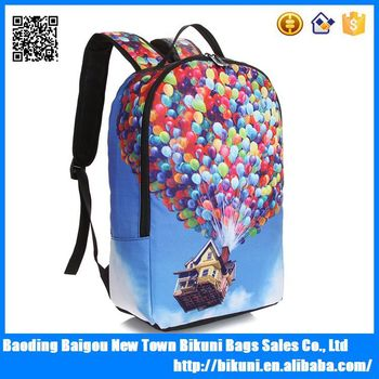 China factory Alibaba best selling wholesale beautiful girls school bags  teenager nylon cartoon 3D printing backpack 131016a740364