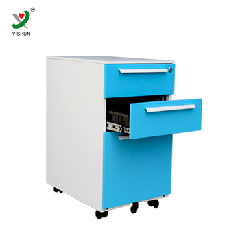 Cold Rolled Steel Metal Mobile 3 Drawer Pedestal Filing Cabinet