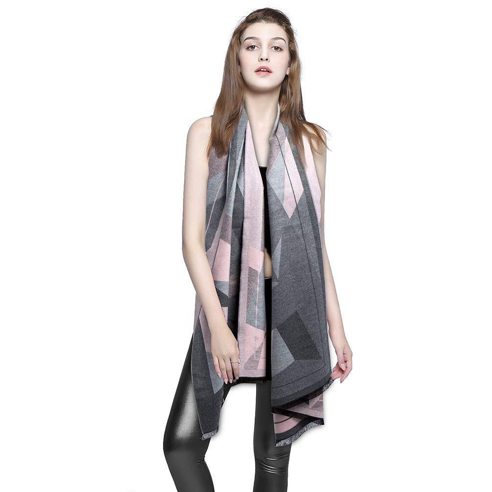 MeiLiMiYu Women Winter Cashmere Blanket Scarf Women's Fall Winter Warm Soft Chunky Blanket Scarves Cozy Checked Wool Tartan Shawl