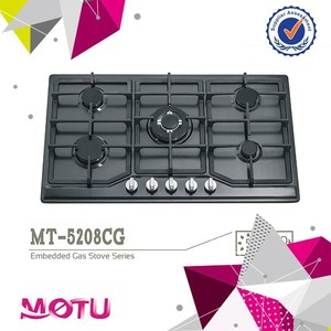 5 Burners Build-in Type Glass Top Gas Hob with Brass Burner MT-467
