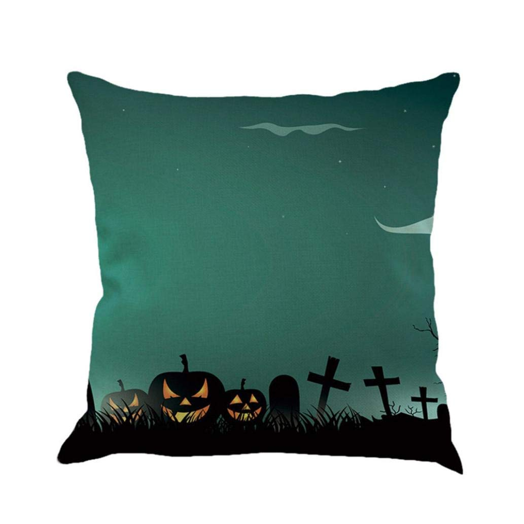 Zainafacai Home Decor Halloween Castle Throw Pillow Case Cushion Square Decorative Cover 1818 inch-Cotton Linen (A, One Size)