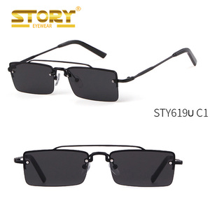 STORY STY619U 2018 Brand Designer Metal Sunglasses Women Narrow Frame Vintage Square Sunglasses Men Model Catwalk Sun Glasses