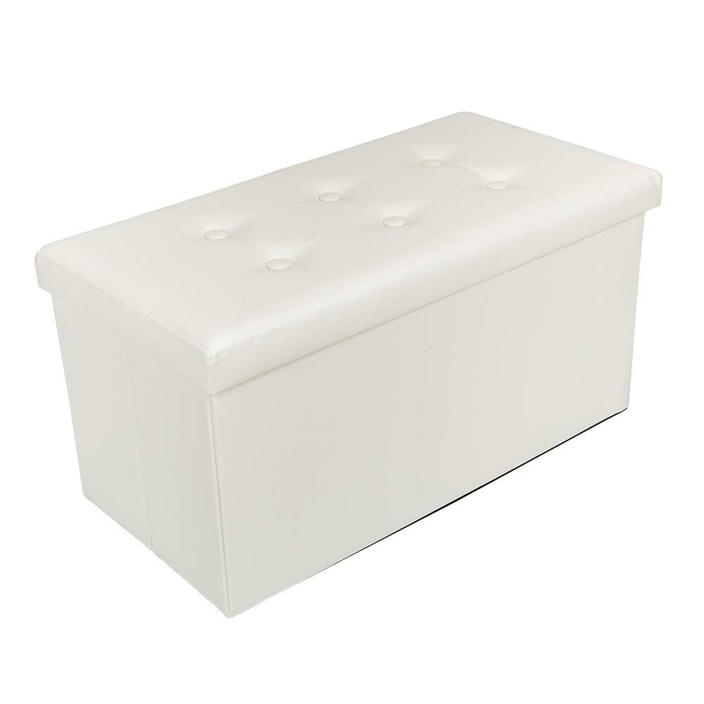 Get Quotations Practical Pvc Leather Ottoman Storage Rectangle Shape With On Footstool White