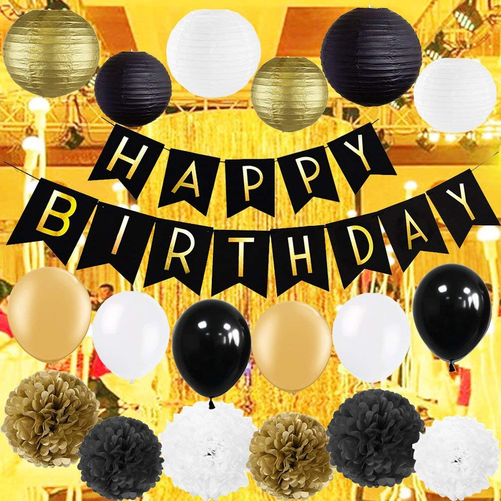 Get Quotations Kubert Black And Gold Party Decorations With Happy Birthday Banner For 18th 21st 30th