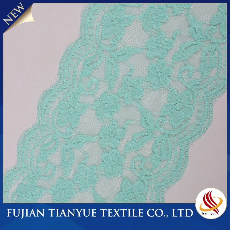 2017 High Quality Knitted Cyan Flat And Wide Lace Trim