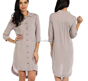 Solid Knit Button Down Hi Lo Shirt Dress Women Buy Solid Knit