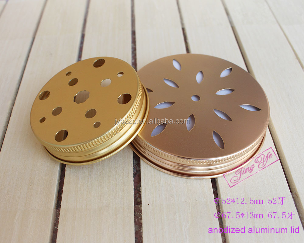 gold aluminum lid hole for cosmetic,aluminum lid threaded