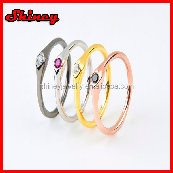 925 sterling silver stackable Mid Finger Rings Set of 3 Color