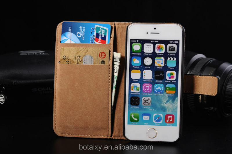 Premium Genuine Real Leather Wallet Cover Case for iPhone 5 5S