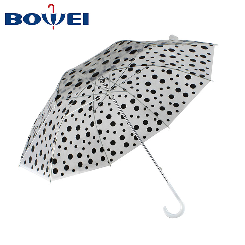 Clear manual umbrellas transparent polka dot umbrella with logo print
