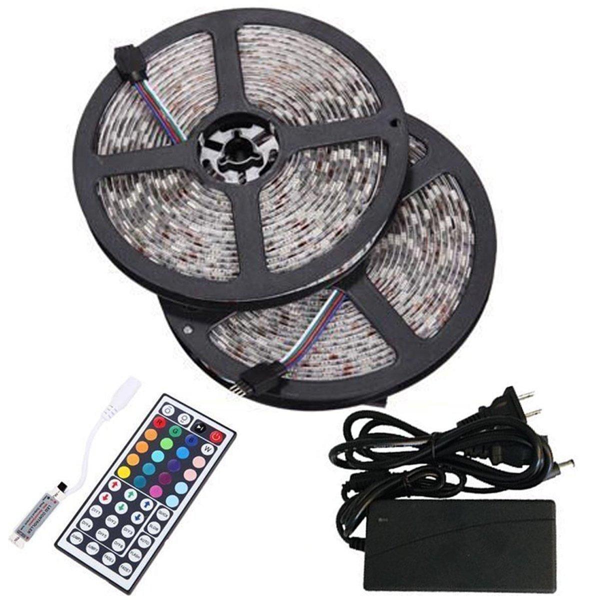 BMOUO 2 Reels 12V 32.8ft Waterproof Flexible RGB LED Strip Light Kit, Multi-colored, SMD5050 300 LEDs, LED Strip Kit & MINI 44-key IR Controller + 12V 5A Power Supply, Adhesive Light Strips