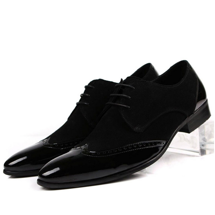2015 New Fashion Black Designer Brand Italian Formal Oxford Genuine Leather Dress Pointed Ttoe Sneakers Shoes For Men MGS355