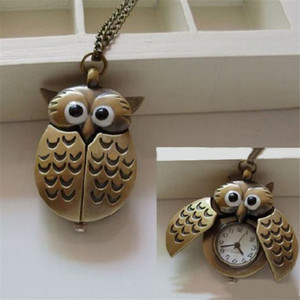 New Clip Vest-Pocket Watch keyring Mini Metal Owl Shape Double Bolsillo Open Clock Silver Retro Fashion Jewelry Keychains