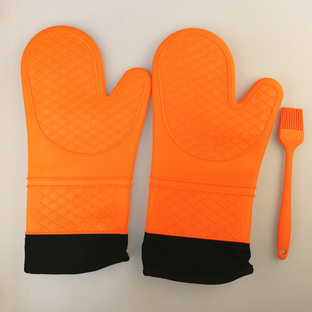 Oven Gloves Silicone Oven Mitts, Grilling Gloves, BBQ Potholders, Baking Gloves, Kitchen Mitt, Cooking, BBQ Accessories, Pot Holders, Heat Resistant Waterproof & Dishwasher Safe1 Pair Color Orange