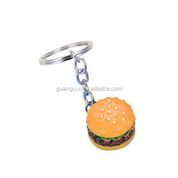 2019 Wholesale custom 3d resin food hamburger keychain