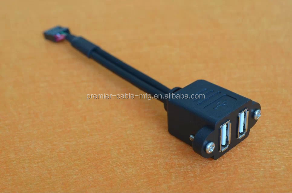 Usb 3.0 19-pin To Dual Usb Type-a Female Front Panel Cable (40cm ...