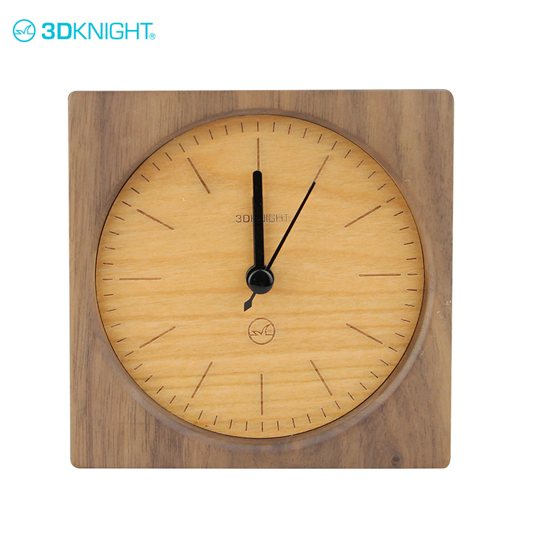 Beautiful elegant wood clock handmade wooden desk alarm clock