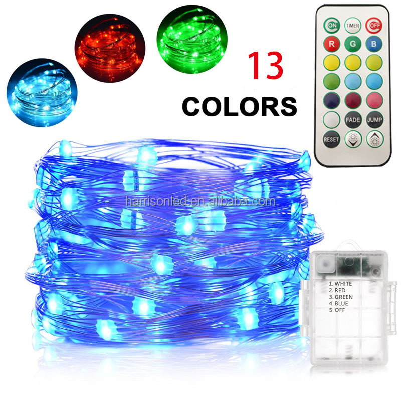 Battery operated 13 colors wedding decoration remote control color changing LED Christmas string lights