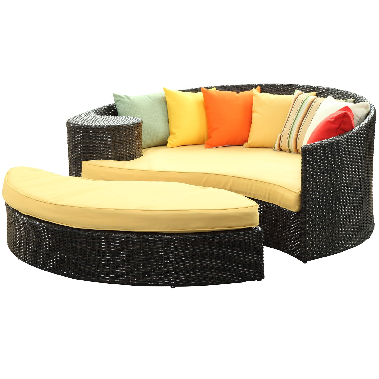 Modway Taiji Outdoor Wicker Patio Daybed with Ottoman in Brown with Orange Cushions