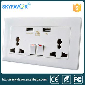 110v 220v Multi-function Usb Wall Outlet / Electrical Outlet Usb ...