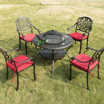 Round Bronze Outdoor Patio Garden Furniture Cast Aluminum Metal Fire Pit  Table Set With Cover