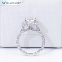 Tianyu Gems 18k white gold 16 H&A cut 2ct luxurious Moissanite Diamond halo ring