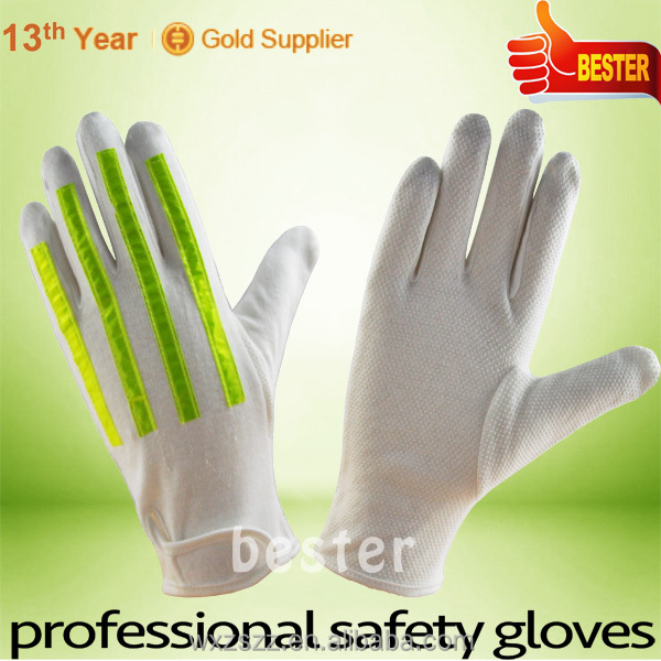 High Performance White Cotton Reflective Fluorescent Stripe Traffic Police <strong>Glove</strong> With Great Low Price