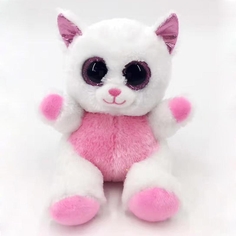 High Quality Big Eye Stuffed Furry Animal Toys White Cat Plush Toy