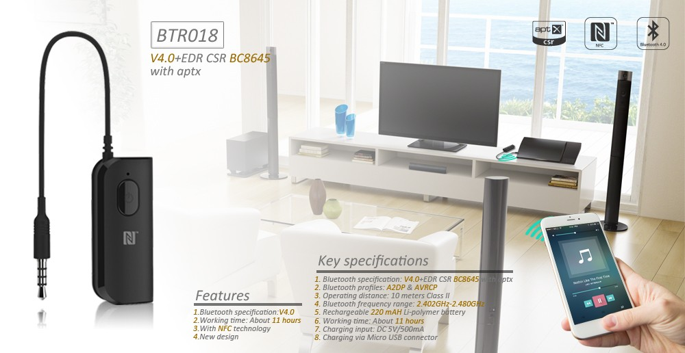 nfc bluetooth receiver chip high end bluetooth adapter. Black Bedroom Furniture Sets. Home Design Ideas